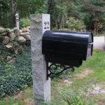 Engraved Granite Mailbox Post